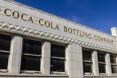 coke bottle: Indianapolis - Circa October 2016: The former Coca-Cola bottling plant with art deco features. The Coke plant opened in 1931 VI