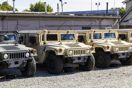 armory: Kokomo - Circa October 2016: Humvee Multipurpose Vehicles lined up at the Indiana National Guard Armory I