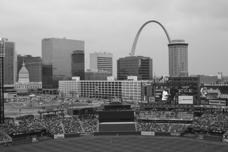 St. Louis - Circa May 2008: The Gateway Arch as seen from Busch Staduim, Home of the Cardinals III