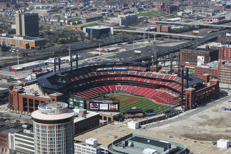 missouri: St. Louis - Circa May 2008: Busch Stadium - Home of the Cardinals - from the top of the Gateway Arch I