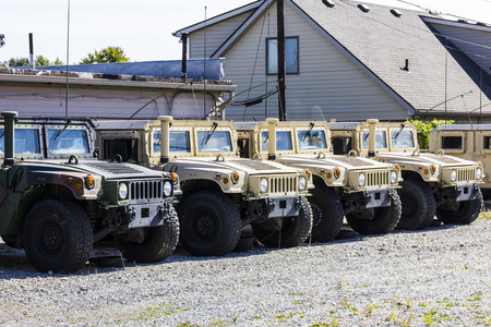 armory: Kokomo - Circa October 2016: Humvee Multipurpose Vehicles lined up at the Indiana National Guard Armory II Editorial