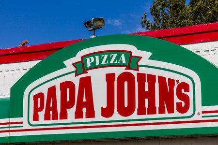 ローガンズ ポート - 2016 年 10 月頃: パパジョンのテイクアウトのピザ レストラン。パパ ・ ジョンズは世界で 3 番目に大きいテイクアウトとピザ デ 報道画像