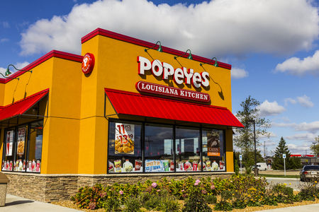 annie: Anderson - Circa October 2016: Popeyes Louisiana Kitchen Fast Food Restaurant. Popeyes is known for its Cajun Style Fried Chicken III