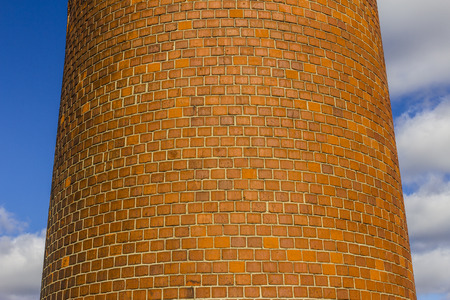 Abandoned Factory with Brick Smokestack and the Remnants of the Power Plant III Stock Photo