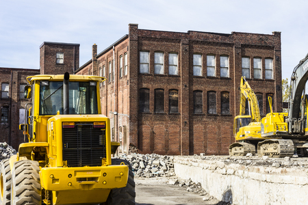 Kokomo - Circa October 2016: Former Automotive Warehouse Demolition. Old Rust Belt Factories Make Way for New Construction II Editorial