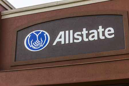 underwriter: Indianapolis - Circa October 2016: Allstate Insurance Logo and Signage. The Allstate Corporation is the second largest personal lines insurer in the US I