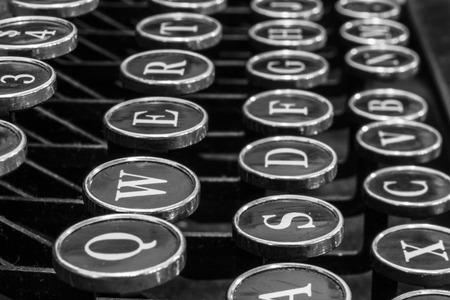 qwerty: Antique Typewriter - An Antique Typewriter Showing Traditional QWERTY Keys XVI