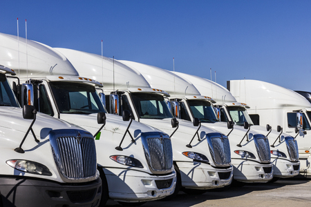 Indianapolis - Circa November 2016: Navistar International Semi Tractor Trailer Trucks Lined up for Sale I