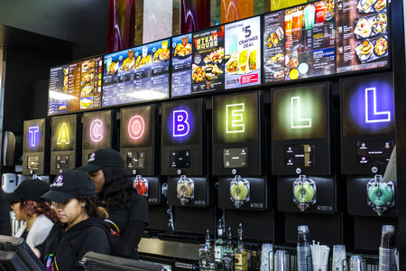 fast food restaurant: Las Vegas - Circa December 2016: Taco Bell Cantina Location. The new Taco Bell Cantina features a DJ area, VIP lounge, and upscale menu IV