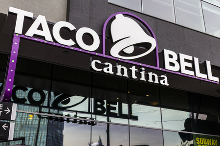 cravings: Las Vegas - Circa December 2016: Taco Bell Cantina Location. The new Taco Bell Cantina features a DJ area, VIP lounge, and upscale menu III Editorial