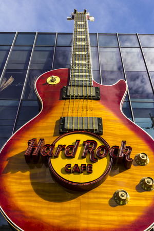 hardrock: Las Vegas - Circa December 2016: The Hard Rock Cafe on the Strip. The Hard Rock sign is embedded in a Gibson Les Paul Guitar I