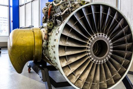 turbojet: Indianapolis - Circa January 2017: Exterior of a Rolls-Royce F402 Pegasus Jet Engine, used in the VSTOL AV-8B Harrier II a