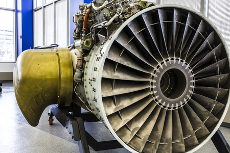 Indianapolis - Circa January 2017: Exterior of a Rolls-Royce F402 Pegasus Jet Engine, used in the VSTOL AV-8B Harrier II a