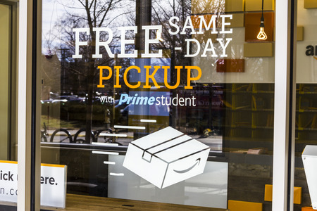 Lafayette - Circa February 2017: Amazon Store at Purdue. A brick-and-mortar store customers can receive products from Amazon.com I Editorial