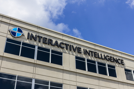 Indianapolis - Circa September 2016: Interactive Intelligence Corporate Headquarters, Interactive Intelligence Provides Cloud Services for Customer Engagement, Communications and Collaboration II