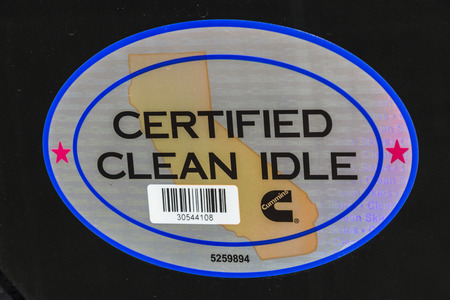 Indianapolis - Circa February 2017: California Clean Idle Sticker. The sticker certifies a diesel engine in a late model medium duty truck may idle longer than five minutes in California I