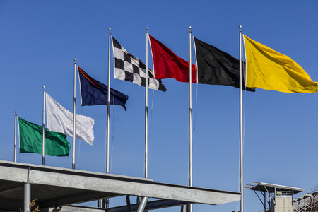 Indianapolis - Circa February 2017: The seven racing flags at Indianapolis Motor Speedway. IMS Prepares for the 101st Running of the Indy 500 IV