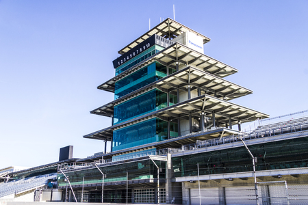 indianapolis: Indianapolis - Circa February 2017: The Panasonic Pagoda at Indianapolis Motor Speedway. IMS Prepares for the 101st Running of the Indy 500 IX