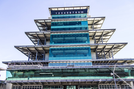 Indianapolis - Circa February 2017: The Panasonic Pagoda at Indianapolis Motor Speedway. IMS Prepares for the 101st Running of the Indy 500 VIII