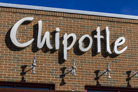 Indianapolis - Circa February 2017: Chipotle Mexican Grill Restaurant. Chipotle is a Chain of Burrito Fast-Food Restaurants XI Editorial