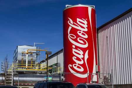 Indianapolis - Circa February 2017: Giant Can of Coca Cola adorns the Bottling Plant. Coke products are among the best selling soft drinks in the US XII