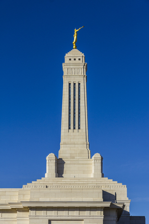 lds: Carmel - Circa February 2017: The Angel Moroni Stands atop the Indianapolis Indiana Mormon Temple I