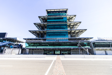 Indianapolis - Circa February 2017: The Panasonic Pagoda at Indianapolis Motor Speedway. IMS Prepares for the 101st Running of the Indy 500 XI