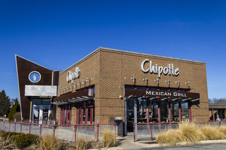 Indianapolis - Circa February 2017: Chipotle Mexican Grill Restaurant. Chipotle is a Chain of Burrito Fast-Food Restaurants IX Editorial