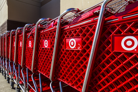 Indianapolis - Circa February 2017: Target Retail Store Baskets. Target Sells Home Goods, Clothing and Electronics XIII