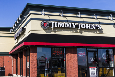 Kokomo - Circa February 2017: Jimmy Johns Gourmet Sandwich Restaurant. Jimmy Johns is known for their fast delivery IV Editorial