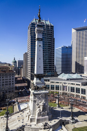 indianapolis: Indianapolis - Circa March 2017: Indianapolis Downtown Skyline from Monument Circle on a Sunny Day V