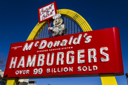 Muncie - Circa March 2017: Legacy McDonalds Hamburger Sign with Speedee. This Sign was Installed in 1956 and Restored in 2013 IX Editorial