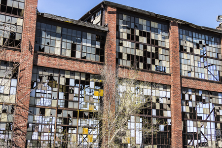 Urban Blight - Old Abandoned Railroad Factory IX Stock Photo