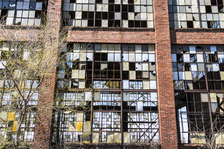 abandon: Urban Blight - Old Abandoned Railroad Factory VIII Stock Photo