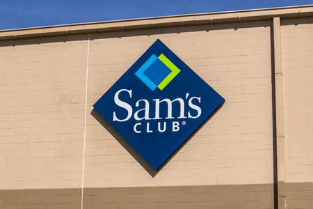 Lafayette - Circa April 2017: Sams Club Warehouse Logo and Signage. Sams Club is a chain of membership only stores owned by Walmart III Editorial