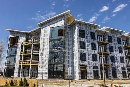 Carmel - Circa April 2017: New Apartment Block and Multi-Dwelling Unit Construction. The Carmel area is undergoing rapid growth I