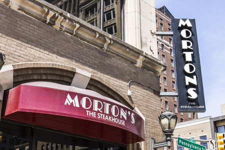 Indianapolis - Circa April 2017: Mortons The Steakhouse Downtown Restaurant. Mortons is a legendary steakhouse with its origins in Chicago Editorial
