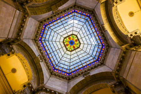 Indianapolis - Circa April 2017: Indiana State Capital Rotunda. The beautiful stained glass dome window is original and made from German glass