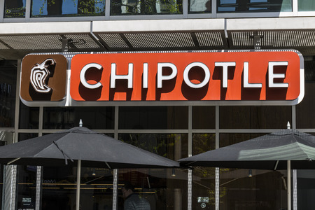 Indianapolis - Circa April 2017: Chipotle Mexican Grill Restaurant. Chipotle is a Chain of Burrito Fast-Food Restaurants