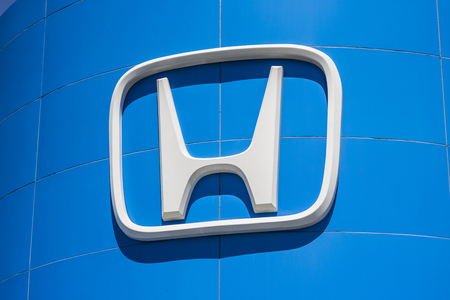 Indianapolis - Circa April 2017: Honda Motor Co. Logo and Sign. Honda Manufactures Among the Most Reliable Cars in the World V