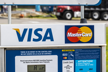 Marion - Circa April 2017: VISA and MasterCard Logo. VISA and MasterCard offer many payment products worldwide I