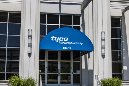 specializes: Indianapolis - Circa May 2017: Tyco Integrated Security Office Location. Tyco specializes in electronic security products, installation and services II