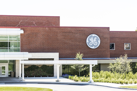 Cincinnati - Circa Mai 2017: General Electric Aviation Facility. GE Aviation ist ein Anbieter von GE90 und LEAP Jet Engines Standard-Bild - 78121859