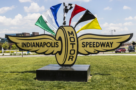 indy: Indianapolis - Circa May 2017: Logo and signage of the Indianapolis Motor Speedway. IMS Hosts the Indy 500 and Brickyard 400 Auto Races VII Editorial