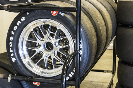 Indianapolis - Circa May 2017: Sets of Firestone racing tires prepared for IndyCars at Indianapolis Motor Speedway for the Indy 500 I