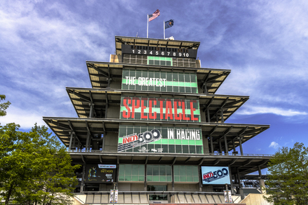 Indianapolis - Circa May 2017: The Panasonic Pagoda at Indianapolis Motor Speedway. IMS Prepares for the 101st Running of the Indy 500 II