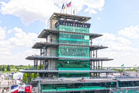 Indianapolis - Circa May 2017: The Panasonic Pagoda at Indianapolis Motor Speedway. IMS Prepares for the 101st Running of the Indy 500 III