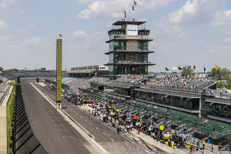 Indianapolis - Circa May 2017: The Panasonic Pagoda at Indianapolis Motor Speedway. IMS Prepares for the 101st Running of the Indy 500 IV