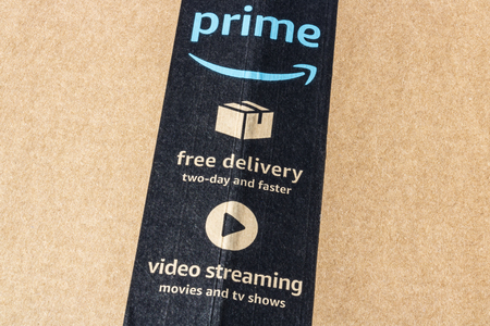 Indianapolis - Circa May 2017: Amazon Prime Parcel Package. Amazon.com is a premier online retailer VIII