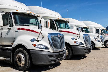 Indianapolis - Circa June 2017: Navistar International Semi Tractor Trailer Trucks Lined up for Sale XI